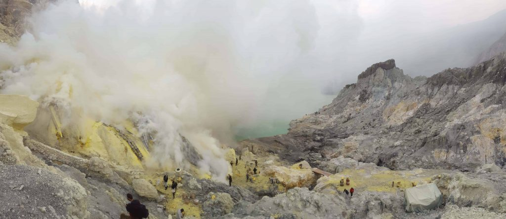 Sulfur mines and the lake of Kawah Ijen