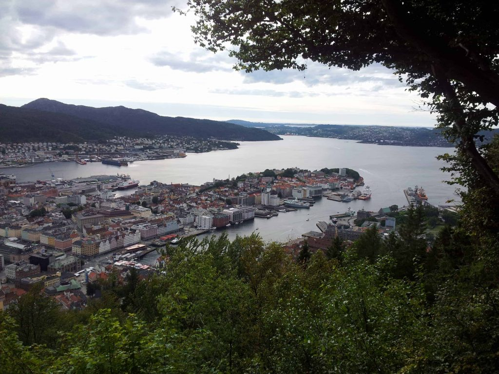 Fløyen viewpoint on the way up
