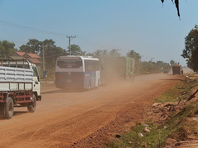 Cambodia bumpy highway