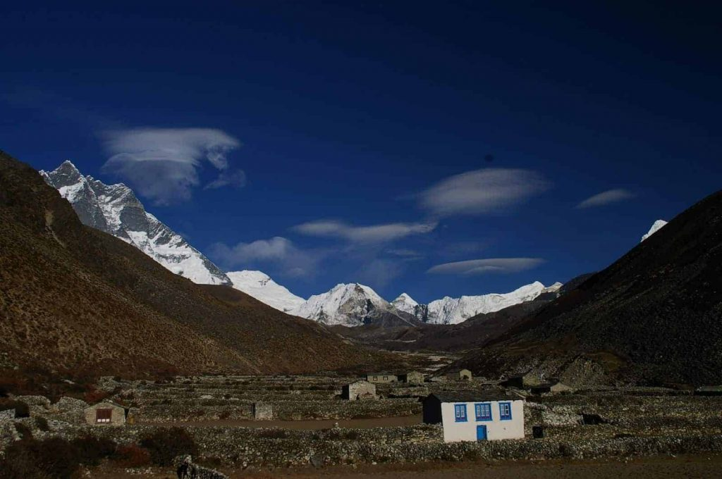 Dingboche village and the mountains above Chhukung village