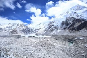 Khumbu glacier and icefall seen on the way up to Everest base camp
