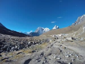 Lobuche village and Cholatse peak at top