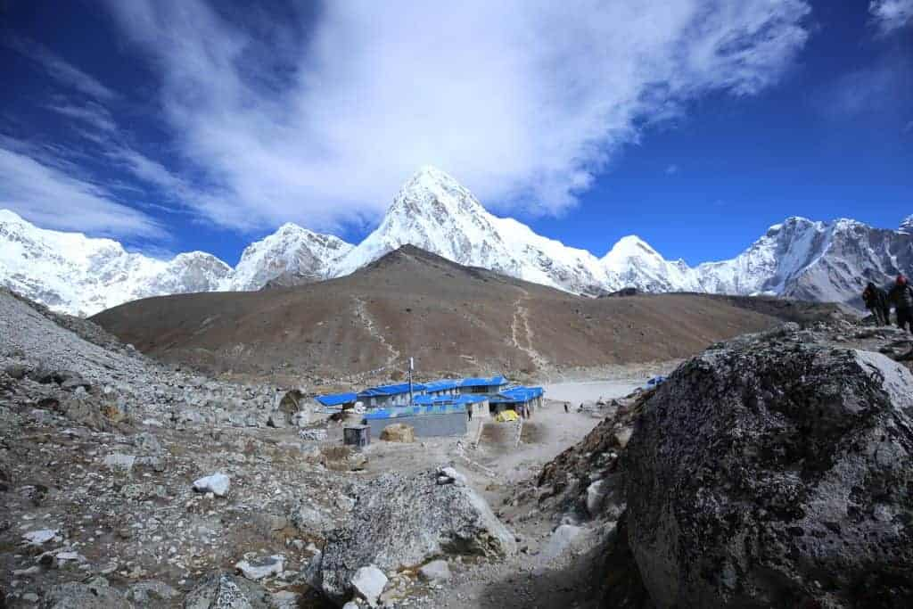 Pumori south face at top Kalapatthar at Middle and Gorakshep village at bottom