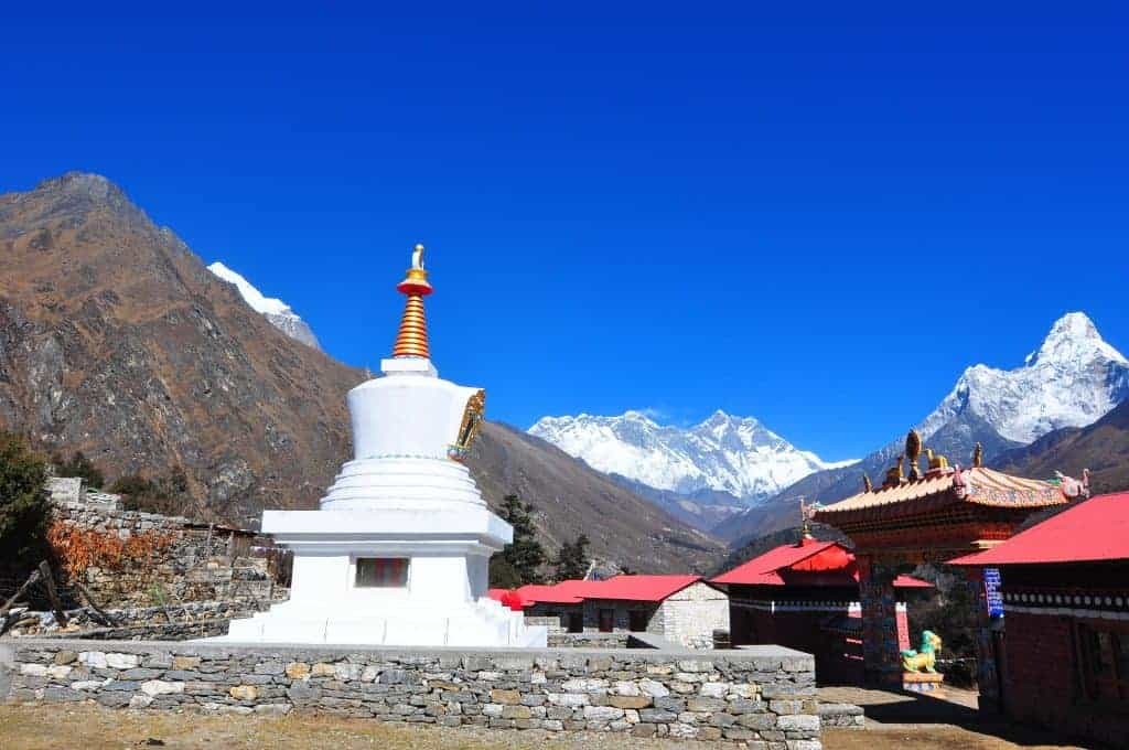 Tengboche village and Ama dablam (right) and Nuptse (middle) mountain