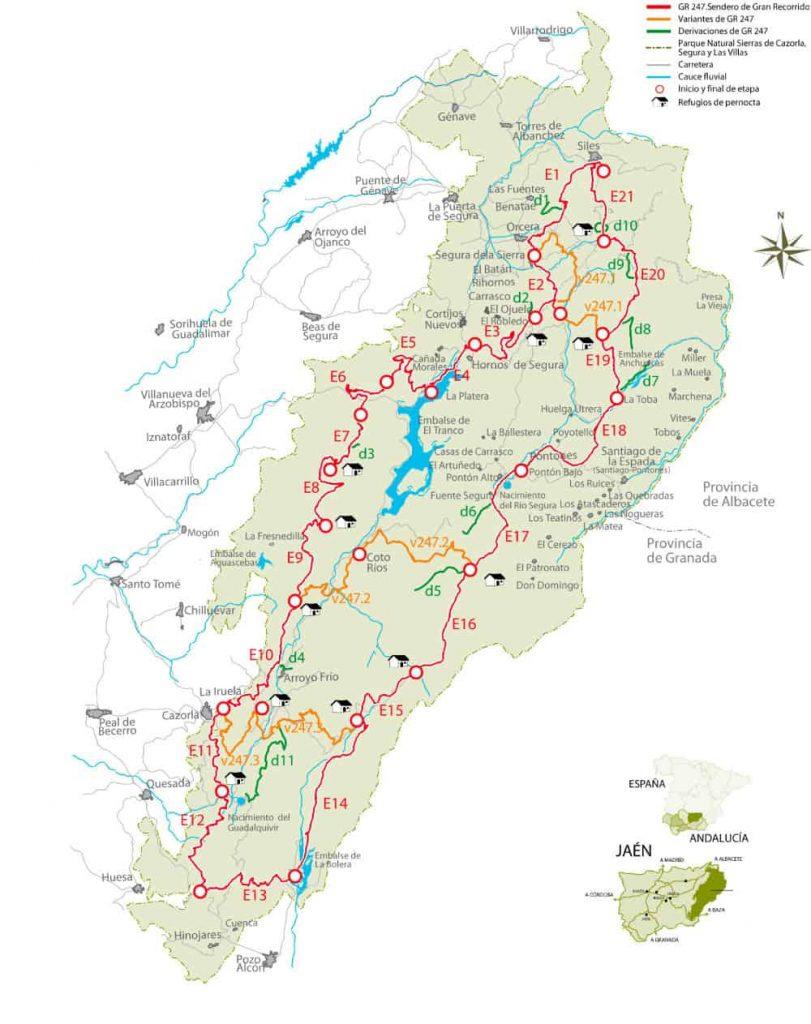 Map for Hiking Sierras de Cazorla