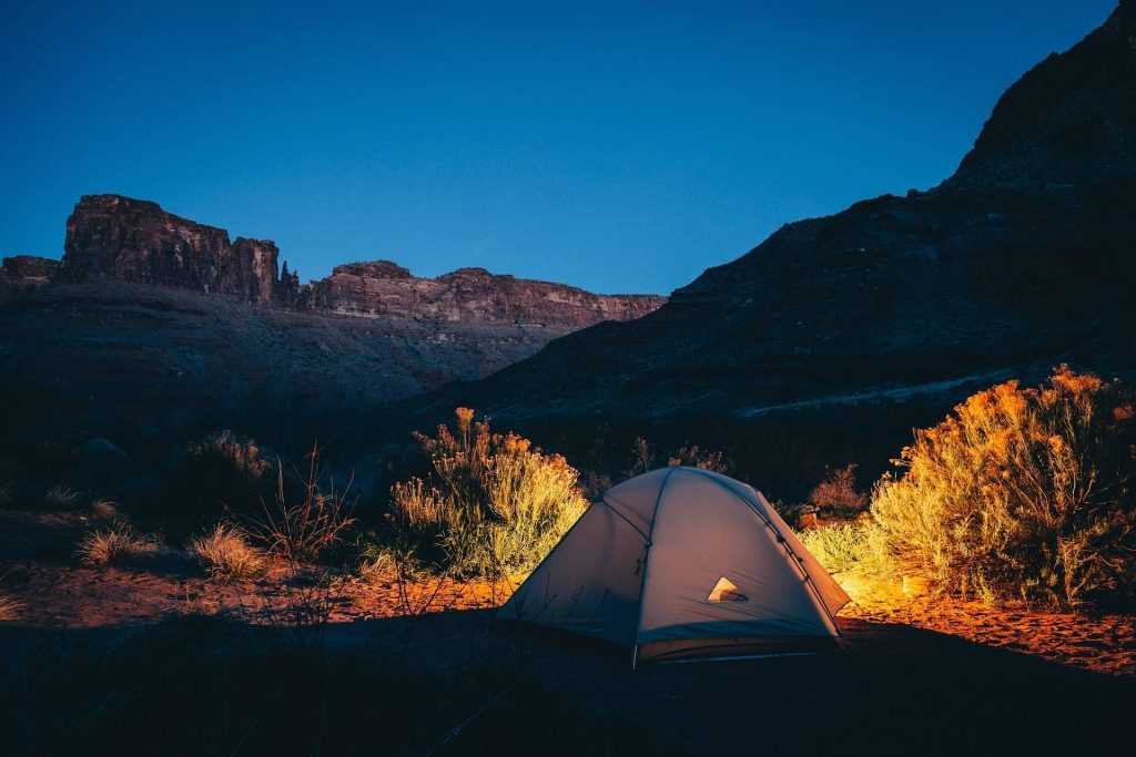 sleep in tents on mountain trails
